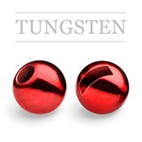 Slotted Tungsten Beads Metallic Red