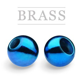Brass Beads Metallic Blue