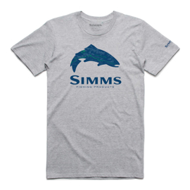 Simms Fire Hole Trout Grey Heather T-Shirt